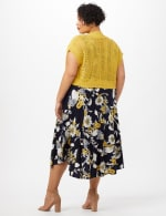 Crochet Sweater Drape Neck Floral Dress - Navy/Yellow - Back