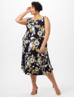 Crochet Sweater Drape Neck Floral Dress - Navy/Yellow - Detail