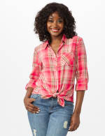 Roll Tab Plaid Shirt - Misses - Pink - Front