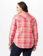 Roll Tab Plaid Shirt - Plus - Pink - Back