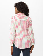 Roll Tab Lurex Stripe Shirt - Misses - Red - Back
