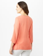 Textured Tunic Embroidered Blouse - Coral - Back