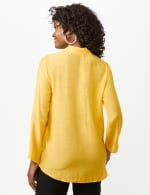 Roll Tab Textured Tunic Shirt - Butter Gold - Back