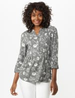 Floral Pintuck Popover - Grey - Front