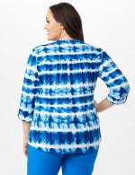 Tie Dye Stripe Pintuck Popover - Plus - Blue - Back