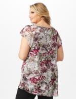Floral and Palm Flyaway Top - Burgundy - Back