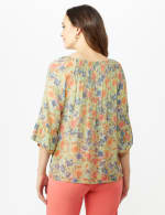 Flare Sleeve Floral Smocked Texture Top - Sage - Back
