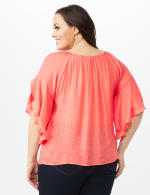 Crochet Trim  Off The Shoulder Textured Top - Rose - Back