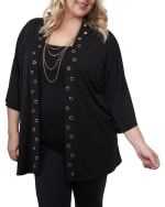 3/4 Sleeve Grommet Trimmed Cardigan - Plus - Black/Gold - Front