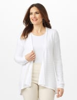 Long Sleeve Mitered Stitch Cardigan - White - Front