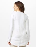 Long Sleeve Mitered Stitch Cardigan - White - Back