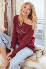 """""""Be Kind"""" Cozy Pullover - Cranberry - Front"""