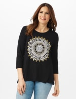 Hi-Low Medallion Screen Knit Tunic - Misses - Black - Front