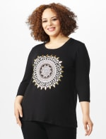 Hi-Low Medallion Screen Knit Tunic - Plus - Black - Front