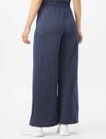 Drawstring Heathered Navy Knit Pant - Misses - Blue - Back