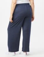 Drawstring Heathered Navy Knit Pant - Plus - Blue - Back