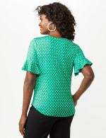 Flutter Sleeve Tie Bottom Knit Top - Green - Back