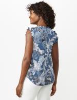 Puff Print Flutter Sleeve Knit Top - Blue/Pink - Back