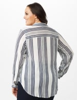 Verigated Stripe Roll Tab Shirt - Plus - Denim Blue - Back