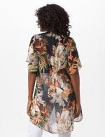 Flutter Sleeve Palm Print Woven Kimona - Black/Green - Back