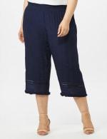 Pull on Wide Leg Crop Pants with Fringe Trim - Navy Blazer - Front
