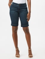 Goddess Fit Bermuda Shorts with Fit Solutions - Dark Stone Wash - Front