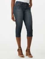2 Button Capri With Front Pocket and Back Flap Pkts - Riviera Blue Wash - Detail