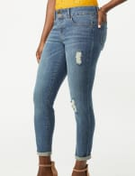 2 Button Waistband Jean, Ankle Length Mid Rise Skinny - Med Stone Wash - Detail