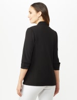 Open Front Collarless Cardigan With Ruched Sleeve - Misses - Black - Back