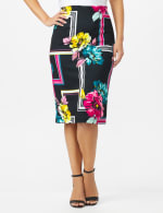 Scuba Crepe Floral Placement Print Skirt - Black - Front