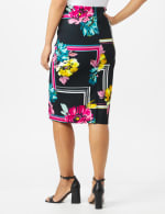 Scuba Crepe Floral Placement Print Skirt - Black - Back