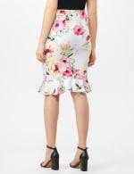 Scuba Crepe Flounce Hem Skirt - Floral Print - Ivory - Back