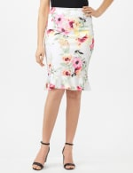 Scuba Crepe Flounce Hem Skirt - Floral Print - Ivory - Front