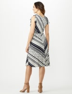 Diagonal Dot and Stripe Dress - Midnight - Back