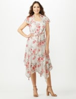 Sleeveless Chiffon Dress With Tie Front Jacket - Cream - Front
