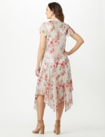 Sleeveless Chiffon Dress With Tie Front Jacket - Cream - Back