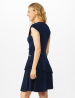 Faux Wrap with Side Tie Crepe Knit with Tiered Skirt - Navy - Back