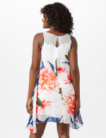 Sleeveless Chiffon Big Flower Illusion Neck Dress - Ivory/Blue/Blush - Back