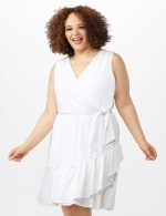 Sleeveless Eyelet Knit Side Tie Ruffle Hem Dress - Plus - White - Front