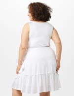 Sleeveless Eyelet Knit Side Tie Ruffle Hem Dress - Plus - White - Back