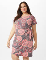 Cap Sleeve Side Tie Faux Wrap Medallion Print Dress - Grey/Coral - Front