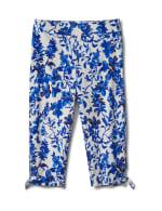 Printed Pull on Pants Tie Hem Capri - Blue Floral - Front