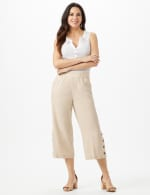 Elastic Waist Crop With Button Detail On Leg - Natural - Front