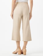 Elastic Waist Crop With Button Detail On Leg - Natural - Back
