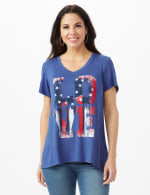 LOVE Hi-Lo Screen Tee - Misses - Indigo - Front