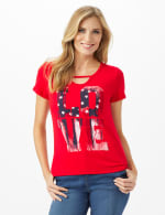 Love Hi-Lo Knit Screen Tee - Red - Front