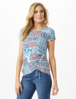 Patchwork  Asymmetrical Side Cinch Knit Top - Petite - Blue - Front