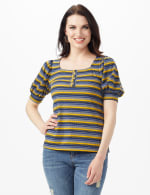 3 Button Stripe Puff Sleeve Knit Top - Petite - Denim - Front