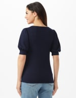 3 Button Puff Sleeve Knit Top - Petite - Navy - Back