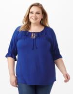 Ruffle Trim Peasant Knit Top - Plus - Blue - Front